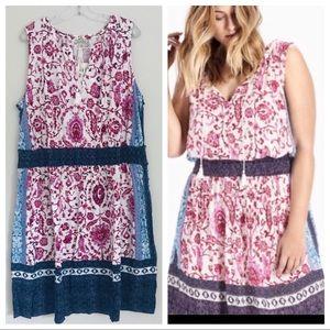 Lucky Brand Kerry Mixed Print Knit Summer Dress